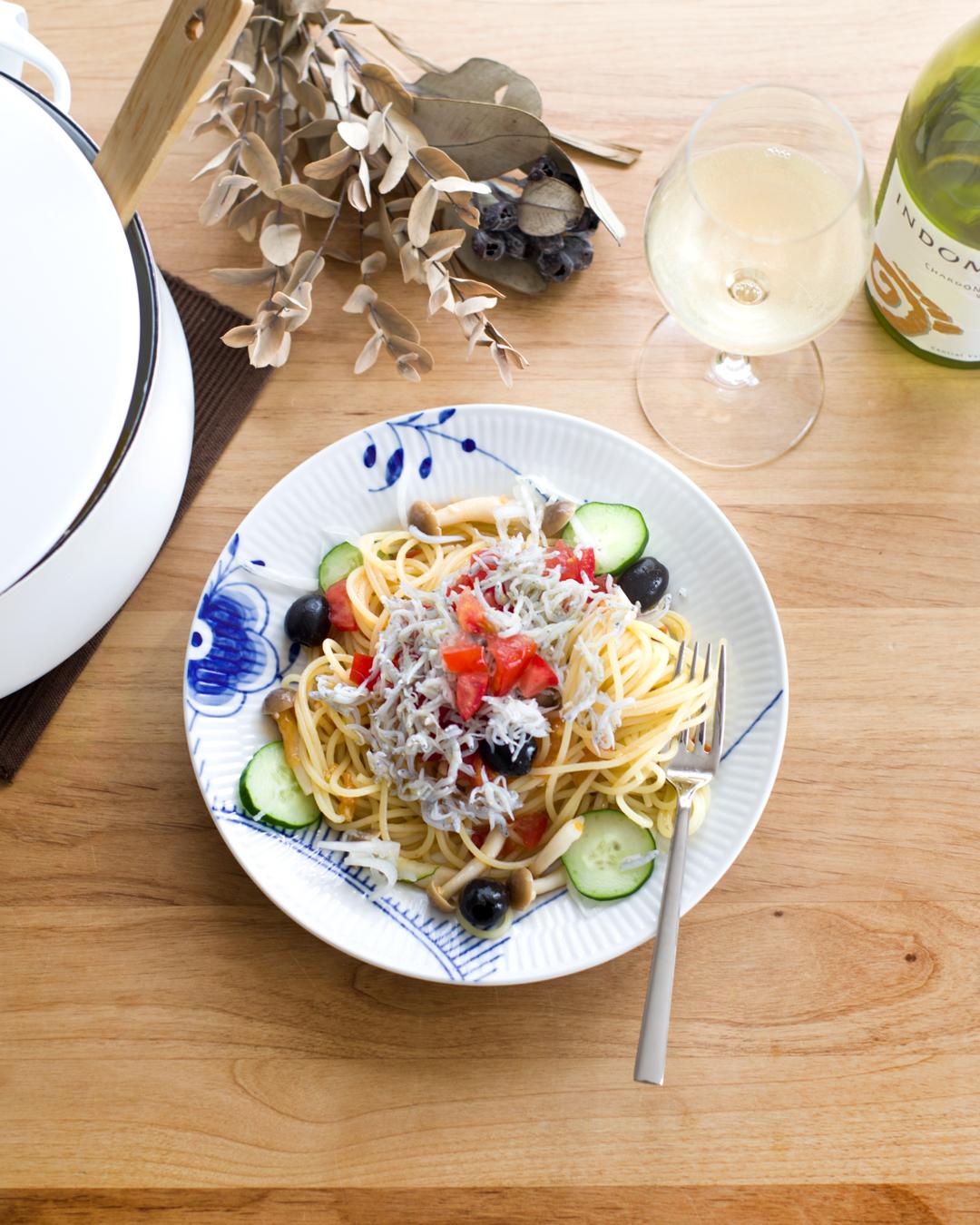 『トマトとしらすの冷製スパゲッティ』