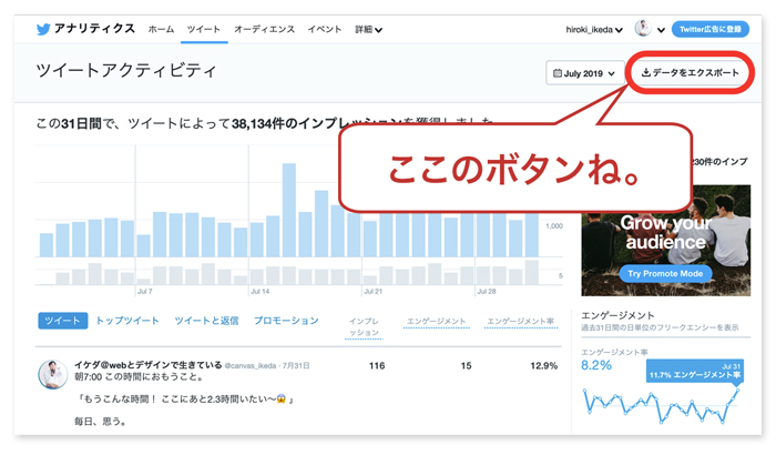 Twitterアナリティクス 分析 エクセル